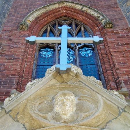 Over the doors of the former St. Andrew's Presbyterian Church; Whitby, Ontario.   St. Arsenije Sremac Serbian Orthodox Church in Whitby, Ontario.